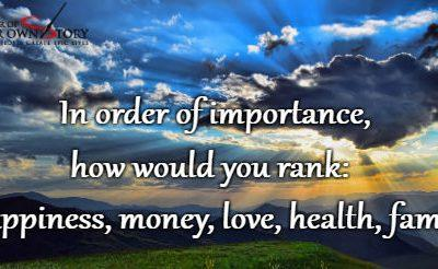 Question of the week – Happiness, Money, Love, Health and Fame